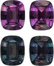 Burgundy to Teal Blue Brazilian Alexandrite Color Change Well Matched Pair in Cushion Cut, 5.3 x 4.4 mm, 0.91 Carats