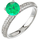 Gorgeous 5.00 mm .5ct Round Cut Vivid Green Genuine Emerald set in Pave Diamond Ring for SALE