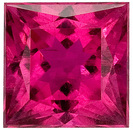 Intense, Unheated Reddish Pink Rubelite Tourmaline Gem with Great Clarity, Princess Cut, 2.1 carats