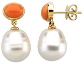 14KT Yellow Gold 7x5mm Oval Coral Dangle Earrings