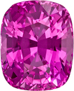 Hot Pink Sapphire Natural Ceylon Gemstone in Cushion Cut, 6.9 x 5.6 mm, 1.58 Carats