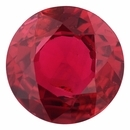 Fine Ruby Loose Gem in Round Cut, Vibrant Red, 6.65 mm, 1.17 Carats