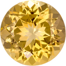 Rich Golden Topaz Natural Gemstone in Round Cut, 8.8 mm, 2.84 Carats