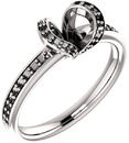 Accented Tulip Head Ring Mounting for Round Shape Centergem Sized 5.20 mm to 8.00 mm - Customize Metal, Accents or Gem Type