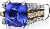 Dramatic 2-Tone 18kt Gold Triple Band Ring With 3.7 carat Cushion Tanzanite Center Gemstone - Lots of Diamond Accents - SOLD