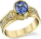 Magnificent Hand Made Bezel Set 2.02ct Oval Blue Sapphire 18 karat Yellow Gold Ring With Diamond Accents