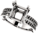 Split Shank Accented Ring Mounting for Square Shape Centergem Sized 5.00 mm to 8.00 mm - Customize Metal, Accents or Gem Type
