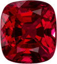 Vibrant Pure Red Burmese Spinel Loose Gem in Cushion Cut, 6 x 5.3 mm, 1.14 Carats