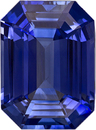 Classic Cut Blue Sapphire Gem in Rich Blue Color, Emerald Cut, 9.9 x 7.3 mm, 3.26 carats