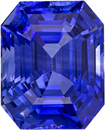 Vivid Intense Blue Sapphire Gem in Emerald Cut, 8.8 x 7.1 mm, 3.39 carats