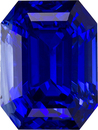 Loose Blue Sapphire Gem Vivid Rich Color in Emerald Cut, GIA Certified in 9.1 x 6.8 mm, 3.75 carats