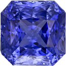 Brilliant Radiant Cut Blue Sapphire Sri Lanka Gemstone, 8.2 mm, 4.22 carats