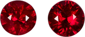Pair of Natural Rubies in Round Cut, Intense Vivid Red Color in 3.8 mm, 0.53 Carats- SOLD
