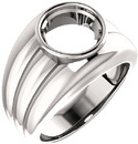 Thick Grooved Band Bezel Set Solitaire Men's Ring Mounting for Round Shape Centergem Sized 4.10 mm to 15.00 mm - Customize Metal, Accents or Gem Type
