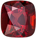 Sharp Red   Spinel Gemstone with Tinge of Orange Color, 6.2 x 5.8 mm, Cushion Cut, 1.31 carats