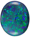 Gorgeous, Australian Black Opal Natural Gemstone with Great Pattern and Life, Oval Cut, 3.16 carats