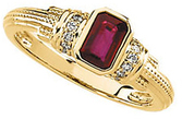14KT Yellow Gold Ruby & 1/10 Carat Total Weight Diamond Granulated Ring