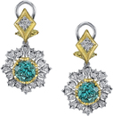 Very Pretty 18kt 2-Tone Lever Back Dangle Earrings With 7.4ctw Round Blue Zircons - Diamond Accents