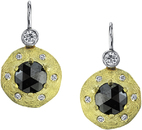 Fashionable Handmade Wire Back Dangle Earrings With Rose Cut Black Diamonds in 18kt 2-Tone Gold - White Diamond Accents