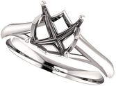 Asscher Solitaire Engagement Ring Mounting for 5.00 mm - 7.00 mm Center - Customize Metal, Accents or Gem Type