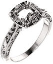 Cushion Sculptural Inspired Engagement Ring Mounting for 5.00 mm - 8.00 mm Center - Customize Metal, Accents or Gem Type