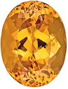 Eye-Catching Unheated Intense Golden Peach Topaz Gemstone from Brazil, Oval Cut, 7.37 carats