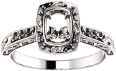 Oval Sculptural Inspired Engagement Ring Mounting for 6.00 x 4.00 mm - 9.00 x 7.00 mm Center - Customize Metal, Accents or Gem Type