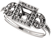 Three Stone Halo Engagement Ring for Square Shape Centergem Sized 4.00 mm to 7.00 mm - Customize Metal, Accents or Gem Type