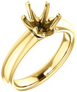 Unset Ring 6-Prong Classic Mounting in 14 Karat Yellow Gold for Oval Shape Gemstone Sized 9.00 x 7.00 mm, Ring Size 5