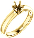 Unset Ring 6-Prong Classic Mounting in 14 Karat Yellow Gold for Round Shape Gemstone Sized 5.20 mm, Ring Size 5