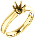 Unset Ring 6-Prong Classic Mounting in 14 Karat Yellow Gold for Round Shape Gemstone Sized 5.50 mm, Ring Size 5