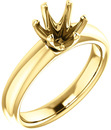 Unset Ring 6-Prong Classic Mounting in 14 Karat Yellow Gold for Round Shape Gemstone Sized 7.00 mm, Ring Size 5
