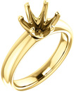 Unset Ring 6-Prong Classic Mounting in 14 Karat Yellow Gold for Round Shape Gemstone Sized 8.00 mm, Ring Size 5