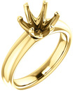 Unset Ring 6-Prong Classic Mounting in 14 Karat Yellow Gold for Round Shape Gemstone Sized 8.20 mm, Ring Size 5