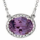 14KT White Gold Amethyst & .05 Carat Total Weight Diamond 16.5