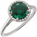 14KT White Gold Chatham Created Emerald and .05Carat Total Weight Diamond Ring