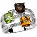 14KT White Gold Checkerboard Smoky Quartz, Peridot, Citrine & 1/6 Carat Total Weight Diamond Ring