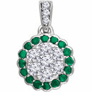 14KT White Gold Emerald & 1/3 Carat Total Weight Diamond Pendant