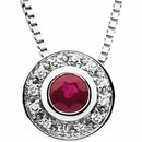 14KT White Gold Ruby & .06 Carat Total Weight Diamond 18