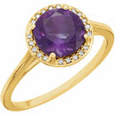 14KT Yellow Gold Amethyst & .05 Carat Total Weight Diamond Ring