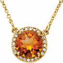 14KT Yellow Gold Citrine & .05 Carat Total Weight Diamond 16