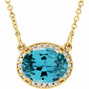 14KT Yellow Gold Swiss Blue Topaz & .05 Carat Total Weight Diamond 16