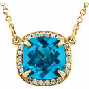 14KT Yellow Gold Swiss Blue Topaz & .06 Carat Total Weight Diamond 16