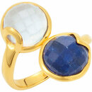 18K Yellow Vermeil Sapphire & Chalcedony Ring Size 6