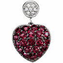 Genuine Brazilian Garnet & Diamond Heart Pendant