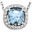 14KT White Gold Sky Blue Topaz & .04 Carat Total Weight Diamond 16