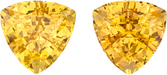Peachy Golden Topaz Well Matched Pair in Trillion Cut, Vivid Peachy Golden Color, 7.3 mm, 3.68 carats