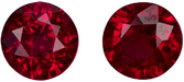 Perfect for Studs Rubies in Round Cut, Pure Rich Red Color, 4.4 mm, 0.91 carats