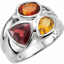 Sterling Silver Mozambique Garnet, Madeira Citrine & Citrine Ring Size 6