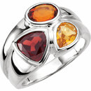 Sterling Silver Mozambique Garnet, Madeira Citrine & Citrine Ring Size 7